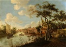 Dorflandschaft an einem Fluss mit Segel- und Ruderboot by  Anonymous-Dutch (17)