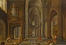 Kircheninterieur mit Staffage (Tempelreinigung) by Peeter Neeffs the Elder