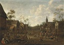 A village feast with figures outside an inn and others playing games by Joost Cornelisz Droochsloot