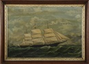 Portrait of the clipper ship St. Nicholas off a rocky coast, with sailors furling a topsail by  Anonymous (19)