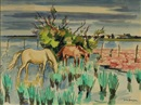 Chevaux en Camargue by Yves Brayer
