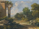 Roman landscapes with architectural capricci (pair) by Gaspard Dughet