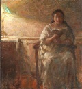 A woman reading in an armchair by Julius Paulsen