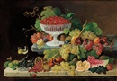 Still Life with Fruit on A Marbletop by Severin Roesen