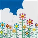 Flower, Flower 2, Warm and Sunny and Floating Campsite (4 works) by Takashi Murakami