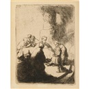 Christ disputing with the doctors, small plate by  Rembrandt van Rijn