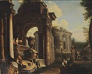 An architectural capriccio with figures amongst classical ruins by Giovanni Paolo Panini