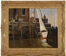 Dock scene with figures, most likely in Rockport, Massachusetts by Anthony Thieme