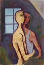 Paar am Fenster by Karl Hofer
