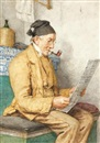 Lesender Bauer auf dem Ofentritt (Reading farmer sitting by the tiled stove) by Albert Anker