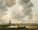 The Haarlemmermeer on a cloudy day, with a distant view of the church of Saint Bavo, Haarlem by Jan Josefsz van Goyen