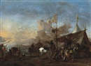 Soldiers and other figures by a sutler's tent, a battlefield beyond by Philips Wouwerman