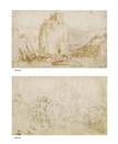 A clifftop fortress in a rocky landscape, vessels anchored below (recto ) and Compositional design (verso) by Ercole Setti