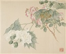 Three paintings of Flowers (3 album leaves) by  Tang Shishu