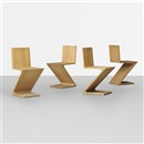 Zig-Zag chairs (set of 4) by Gerrit Thomas Rietveld