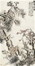 美意延年图 (Pine tree, plum blossom, ganoderma and rock) by  Wu Changshuo