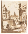 An architectural capriccio with a church to the left by Francesco Guardi