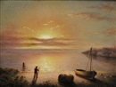Quiet Shoreline with Figure at Sunset by Mary Blood Mellen