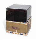 FedEx Medium Kraft Box © FEDEX R4578. Priority Overnight, Los Angeles-Basel trk# 868587728131 May (in 2 parts) by Walead Beshty