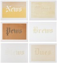 News, Mews, Pews, Brews, Stews & Dues (portfolio of 6) by Ed Ruscha