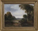 Landscape with footbridge and figures fishing by Thomas Doughty