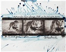 Loliondo, Lion charge by Peter Beard