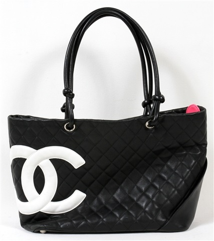 CHANEL 'LIGNE CAMBON' BLACK QUILTED LEATHER TOTE, H 18