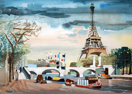 Paris Scene with Eiffel Tower by Dong Kingman