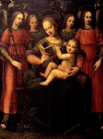 Madonna con bambino e quattro angeli by Plautilla Nelli