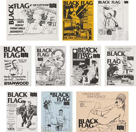 Black flag flyers (set of 10) by Raymond Pettibon