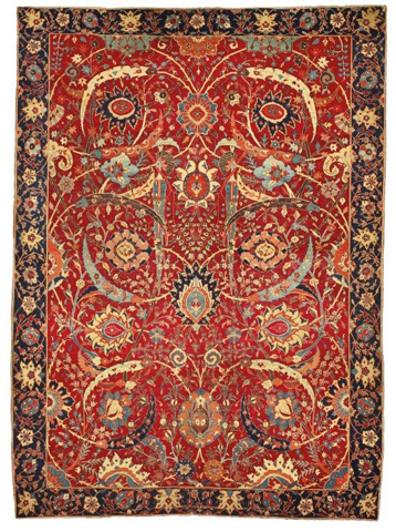 A Sickle-Leaf, vine scroll and palmette carpet