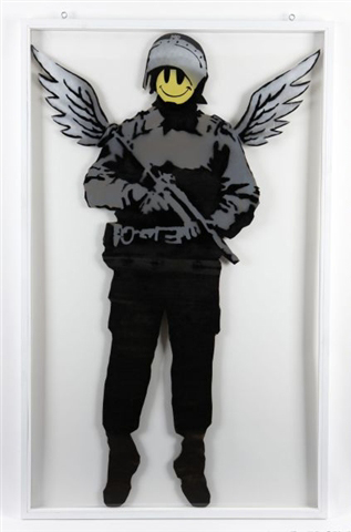 Flying copper (double-sided) by Banksy