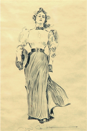 Young woman with straw hat by Charles Dana Gibson