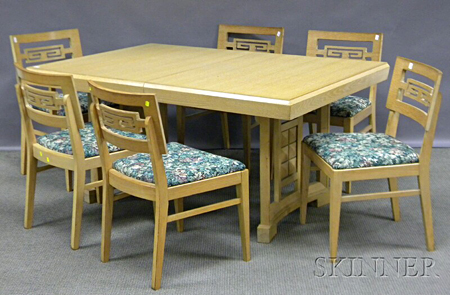 Eight-piece Mid-century Modern Blondewood Dining Room Set