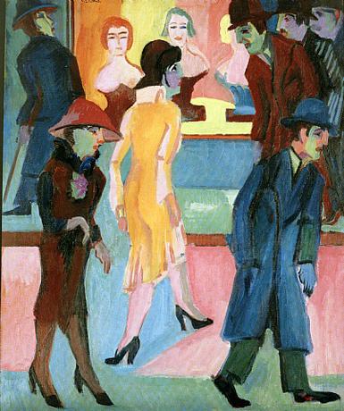 Strassenbild vor dem Friseurladen by Ernest Ludwig Kirchner