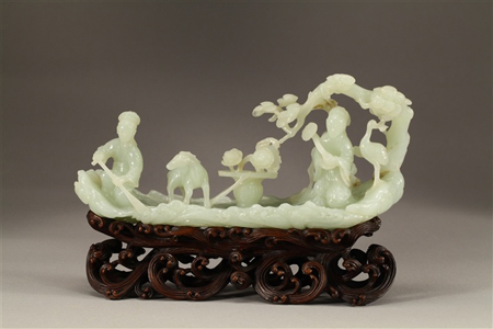 Finely carved white jade with Magu on a raft