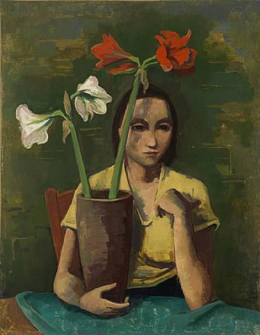 Mädchen mit Amaryllis by Karl Hofer