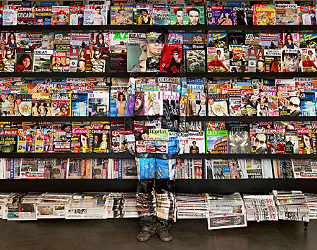 Bookshelf Hide in the City—Paris—02 by Liu Bolin