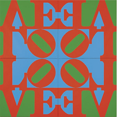 Love Wall—Red green blue (in 4 parts) by Robert Indiana
