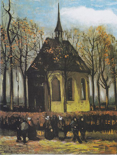 Congregation Leaving the Reformed Church in Nuene by Vincent van Gogh