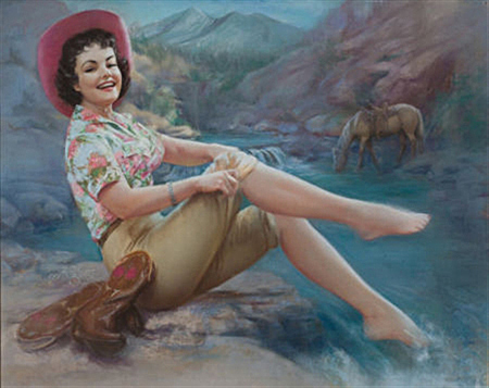Cowgirl with toes in the stream by Zoe Mozert