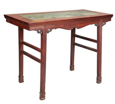 Chinese Marble Inlaid Huanghuali Table