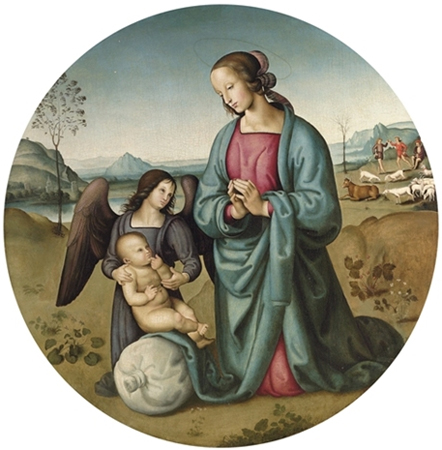 The Madonna and Child with an angel in a landscape  by Circle of Perugino