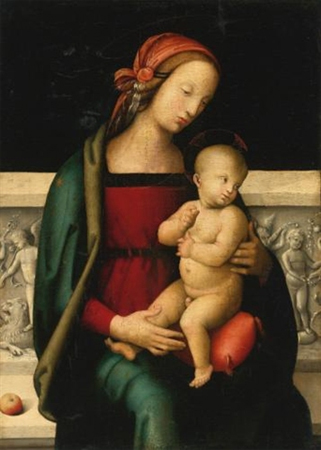 The Madonna and Child seated before a sculpted parapet, an apple resting beside her by Circle of Perugino