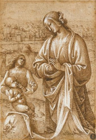 The Madonna kneeling before the Christ Child, who is seated on a sack and supported by an angel by Follower of Perugino