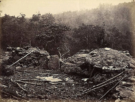 Interior View of Breastworks on Round Top, Gettysburg, July by Timothy O'Sullivan