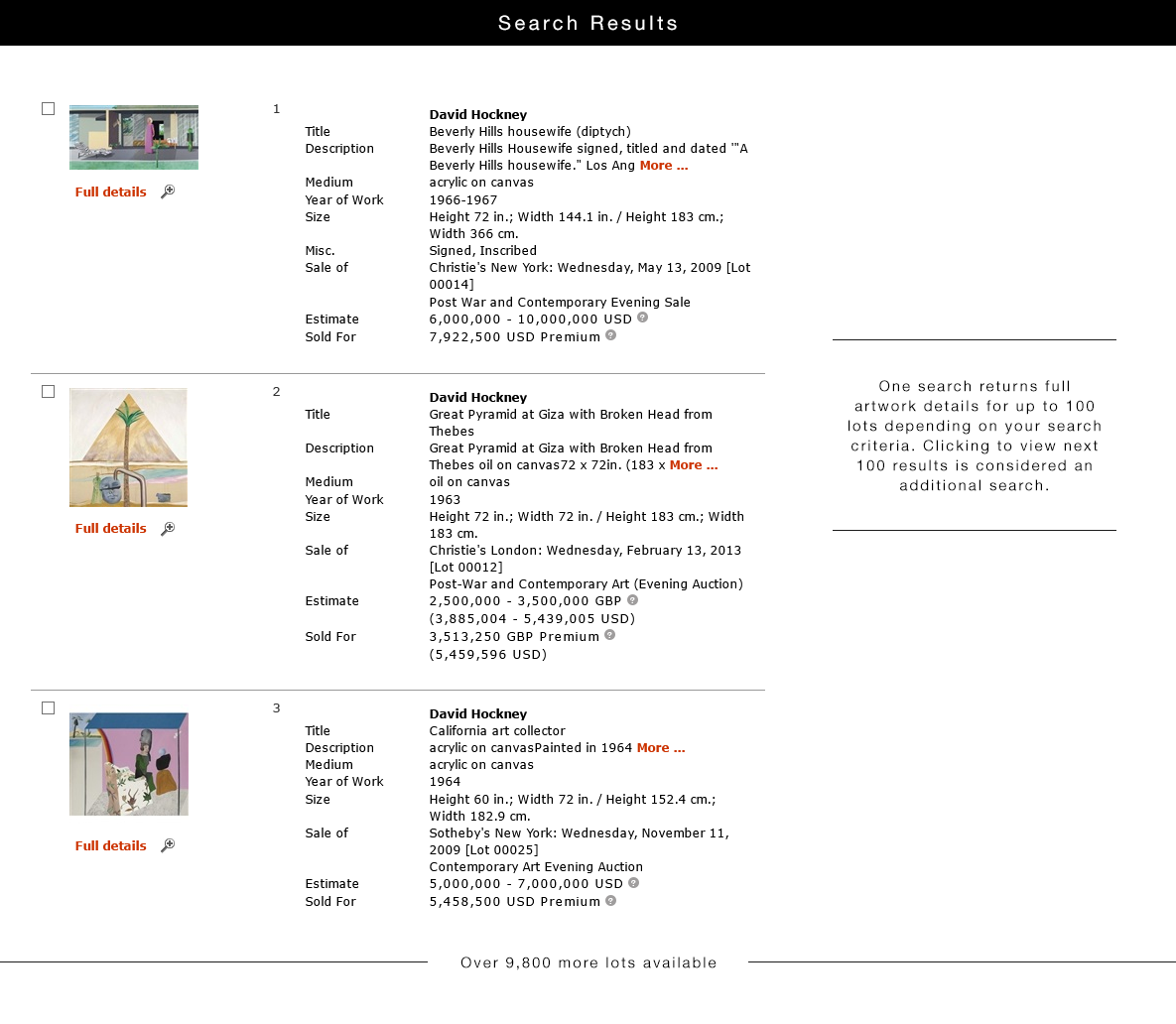 search art prices and auction results artnet price database
