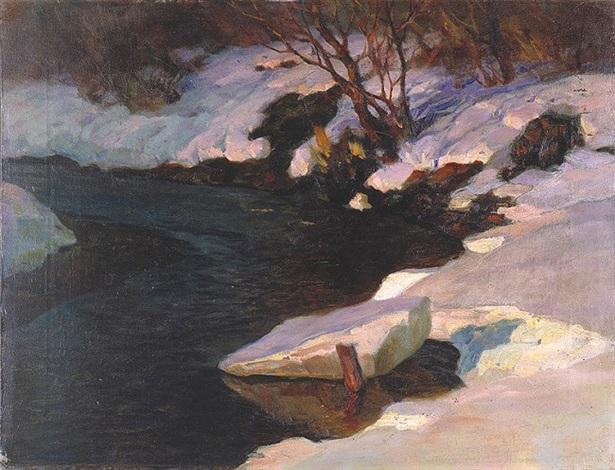 Strumień zimą by Czeslaw Znamierowski on artnet