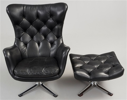 leather easy chair with ottoman a gustav axel berg status black leather easy chair with 16623 | g.a. (gustaf axel) berg a gustav axel berg status black leather easy chair with ottoman