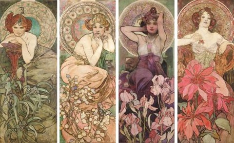 The Four Precious Stones Emerald Amethyst Ruby And Topaz By Alphonse Mucha